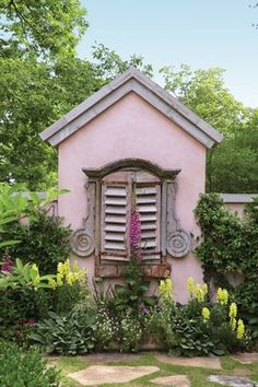 Country garden. Small house home tiny cottages