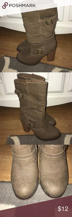 Taupe Mid-Calf Boots These are gently worn, have some scuffing around front toe. They are a size 6 Medium Apt 9 taupe boots with details and buckles wrapped around. Apt. 9 Shoes Combat & Moto Boots