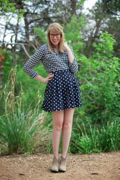 pattern mixing gingham and dots