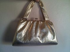 Vintage 60's metallic gold purse with coin by PoolsofLaughter, $22.00
