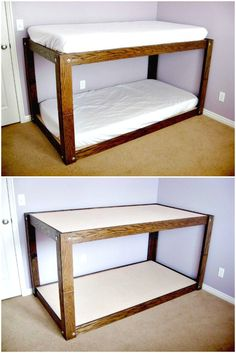22 Low Budget DIY Bunk Bed Plans to Upgrade Your Kids Room - DIY. minimalist bedroom small Check this useful article by going to the link at the image. Low Bunk Beds, Toddler Bunk Beds, Triple Bunk Beds, Kid Beds, Small Bunk Beds, Camper Bunk Beds, Bunk Bed Plans, Diy Bett, Diy Home Decor