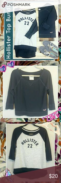 HCO Top Bundle This cozy bundle includes a navy, 3/4 length sleeve, basic tee (size small but fits big) and a navy/gray Hollister logo sweatshirt with 3/4 length sleeves, and a high-low bottom (size medium) Hollister Tops