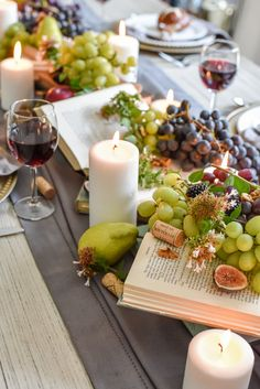 Beautiful and bountiful early fall tablescape filled with fresh fruits, flowers, and candles. Table Centerpieces, Table Decorations, Autumn Table, Party Decoration, Early Fall, Deco Table, Thanksgiving Table, Autumn Inspiration, Event Decor