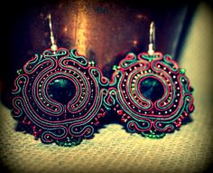 Soutache Earrings with Emerald Swarovski crystal stones, bijoux jewellery, perfect gift