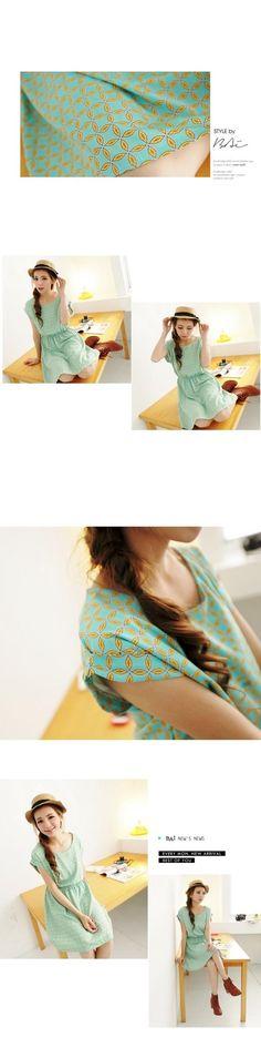 YESSTYLE: BAIMOMO- Cuffed Gather-Waist Patterned Dress