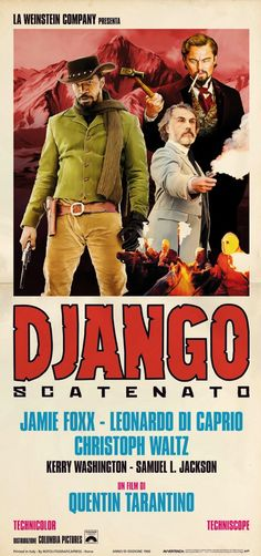 """fiftyfifty: the challenge to read 50 books and see 50 movies in 2013. Movie 1/50: """"Django Unchained"""" (2012) (Italian poster)."""
