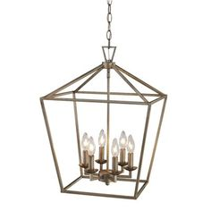 <p>Farmhouse charm gets a modern update with this posh pendant, a must-have for the heart of your home.</p><p>Crafted of steel, its sleek frame features an openwork geometric design hanging from a rectangular ceiling mount. In the center, a square bar sits holding up six LED candelabra-inspired lights to illuminate your space.</p><p>Simply suspend it above the kitchen island to light up your casual dining ensemble, then pull up a few low-back wood stools and you're ready to serve up…