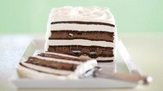 OREO & Fudge Ice Cream Cake - Looks hard, but it's not. The secret? Ice cream sandwiches do most of the work. Delicious layers of OREO Cookies and fudge help too.