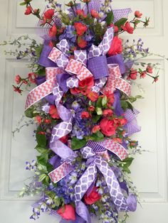 Spring or Summer Coral and Purple Mesh Swag or Wreath by WilliamsFloral on Etsy https://www.etsy.com/listing/293225617/spring-or-summer-coral-and-purple-mesh