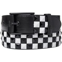 Blue Banana 3 Row Checker Studded Belt (Black/White) ($12) ❤ liked on Polyvore featuring accessories, belts, punk rock belts, punk belt, blue belt and black and white belt