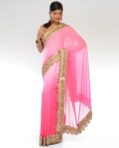 Ombre Blush and Rose Pink Sari with Golden Borders - Exclusively In