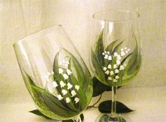 Lily of the Valley pair of wine glasses hand painted