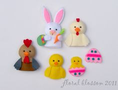 PDF Pattern: Easter Friends Felt Finger Puppets. $5.00, via Etsy.