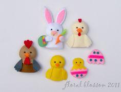 PDF Pattern: Easter Friends Felt Finger Puppets. $5.00, via Etsy.
