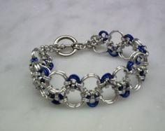 Silver plated Chainmaille Bracelet Charm Bracelet von DebJDesigns