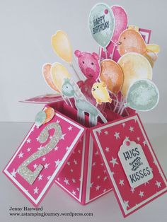 A special Card in a Box for a 2 year old.  I had fun creating this with Stampin' Up! Balloon Builders set.