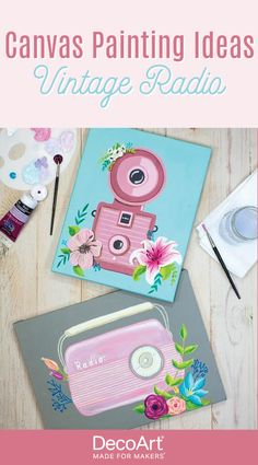 Learn how to create this easy canvas panting using DecoArt acrylic paint! Add floral accents to vintage radios and cameras for a cute and fun painting to decorate your bedroom. Flower Canvas, Acrylic Painting Canvas, Radios, Cameras, Fine Art, Bedroom, Learning, Create, Floral