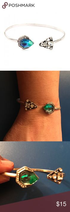 "Crystal Geometric Cuff Bracelet NWOT! Faux crystal geometric cuff bracelet. Circumference is approximately 2-1/2"". No trades. Bundle discount available. Jewelry Bracelets"