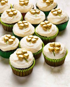 chocolate stout cupcakes topped with gold shamrocks