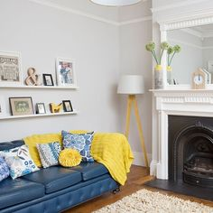 Neutral Living Room with electric blue sofa | housetohome.co.uk
