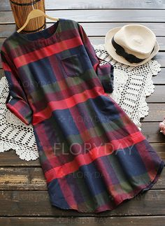 Dresses - $39.99 - Cotton Check Long Sleeve Above Knee Casual Dresses (1955120185)