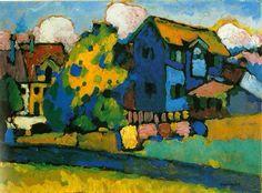 Wassily Kandinsky, Murnau mit blauem Haus, 1908 Everything will work out in its own time Kandinsky Art, Wassily Kandinsky Paintings, Time Painting, Art Moderne, Art Abstrait, Henri Matisse, Monet, Art History, Contemporary Art