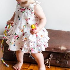 Ruffled baby dress and diaper cover sewing pattern SUNNY DRESS & BLOOMERS baby pdf sewing pattern sizes 6 months to 6 years Baby Girl Dress Patterns, Dress Sewing Patterns, Baby Girl Dresses, Girl Outfits, Baby Girls, Frock Patterns, Pattern Dress, Pdf Patterns, Baby Baby