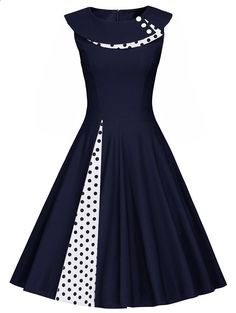 A Line Polka Dot Sleeveless Pleated Dress For Fashion Lovers only Join Sammydress NOW Get YOUR $50 and a chance to GET THIS FOR FREE!!