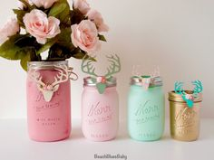 Woodland Baby Shower Antlers Painted Mason Jars by BeachBluesBaby
