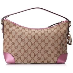 Pre-owned Gucci GG Canvas Heartbit Hobo Bag ($470) ❤ liked on Polyvore featuring bags, handbags, pink, gucci purse, bamboo handle handbag, hobo handbags, bamboo handle purse and canvas hobo handbags