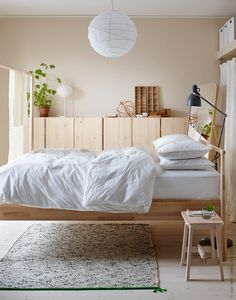 IKEA gjora bed, Scandinavian bedroom, natural wood and white