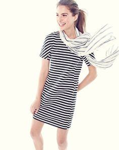 J.Crew women's striped tee dress and summer striped scarf in ivory/navy. To pre-order, call 800 261 7422 or email verypersonalstylist@jcrew.com.