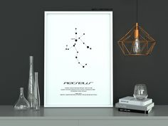 Perseus Star Constellation, Printable Art, Black and White, Instant download, Wall Poster, Astronomy, Navigation, Northern Hemisphere, Myths #artprint #graphics #mythology #hero #stars #constellation Black And White Drawing, Black White, Printable Art, Printables, Star Constellations, Art File, Poster Wall, Astronomy, Picture Frames