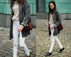 Get this look: http://lb.nu/look/6998808  More looks by Beatrice Gutu: http://lb.nu/thefashioncuisine  Items in this look:  Coat, Sweater, Jeans, Shoes, Bag, Watch   #chic #classic #minimal