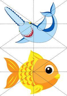 * Puzzel: Vissen! 6-9 The Ocean, Games For Kids, Art For Kids, Projects For Kids, Crafts For Kids, Felt Books, Sorting Activities, Sea Theme, Driftwood Art