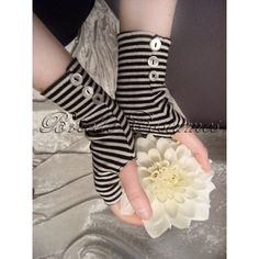 Alice in Wonderland Inspired Striped Gloves Tim Burton Style Size M ($20) ❤ liked on Polyvore