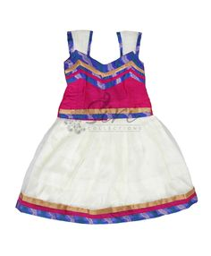 White net lehenga with satin lining and pink silk blouse with benarasi pipings pattern. Blouse length- 11 inches, Lehenga length- 15 inches, Lehenga inner body length- 7.5 inches. Both blouse and lehenga has extra fabric of 1-2 inches for size adjustment.  Age - 12 to 18 Months