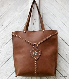 Equestrian Large Leather Vintage Harness Tote Bag with Silver Studs by  Stacy Leigh READY TO SHIP abe60a6d98