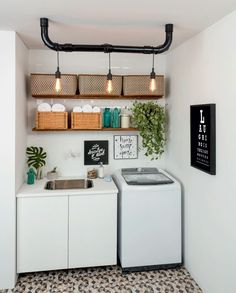 Browse laundry room ideas and decor inspiration for small spaces. Custom laundry rooms and closets, including utility room organization & storage ideas. Laundry Room Lighting, Laundry Room Shelves, Laundry Room Organization, Laundry Room Design, Laundry Decor, Basement Laundry, Room Interior, Interior Design Living Room, Sweet Home