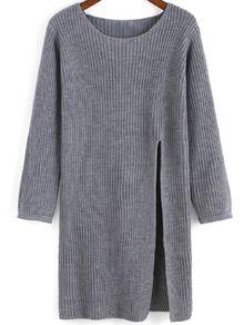 Grey Round Neck Split Knit Sweater