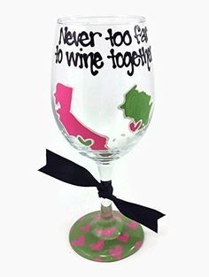 """Hand Painted State to State or Country """"Never too far to wine together"""" Long Distance Wine Glass Hot Pink and Lime Hearts"""
