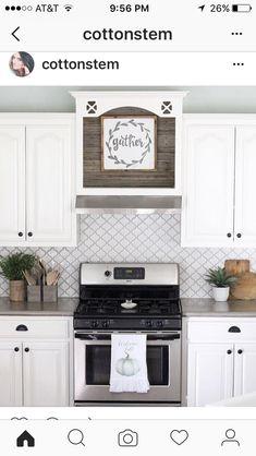 Gray And White Kitchen Farmhouse Kitchen Arabesque Tile Backsplash