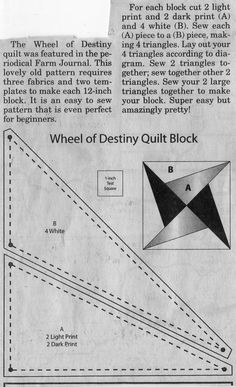 Wheel Of Destiny Quilt Block Pattern