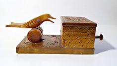 Bird Cigarette Dispenser Vintage Wood Hand Carved Hand Crafted 1960's