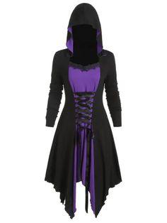 Two Tone Hooded Lace Up Asymmetrical Dress Casual Dresses, Fashion Dresses, Handkerchief Dress, Cosplay Outfits, Asymmetrical Dress, Girl Fashion, Fashion Site, Men Fashion, Pretty Dresses