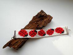 Biedronki  - bransoletka tkana na krośnie w Bajobongo na DaWanda.com