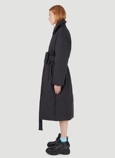 Acne Studios Women's Belted Padded Coat in Black | LN-CC Oversized Puffer Coat, Point Collar, Belts For Women, Black Belt, Acne Studios, Ready To Wear, Champion, Long Sleeve, Sleeves