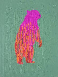 Ursus in Reverse by Will Eskridge #bearart #originalart #minimalism #modernart #wildlife #vibrant #colors