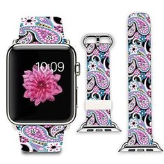 Apple Watch Band+adapter Stainless Steel Silver Metal Replacement Strap Wrist Band for iPhone Watch Leather Black and pink floral pattern cashew) Buy Apple Watch, Apple Watch 42mm, Apple Watch Bands, Gadget Watches, Iphone Watch, Apple Watch Accessories, Black Apple, Wearable Technology, Cuff Earrings