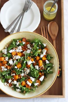 food on paper: Roasted Pumpkin and Rocket Salad
